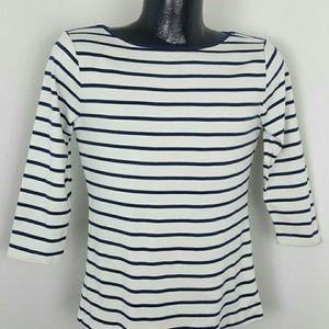 Zara Organic cotton top 3/4 sleeve stripes women